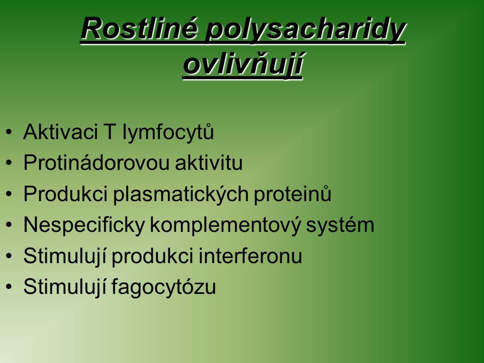 Rostliné polysacharidy ovlivňují Aktivaci T lymfocytů Protinádorovou aktivitu Produkci plasmatických proteinů Nespecificky komplementový systém Stimulují produkci interferonu Stimulují fagocytózu