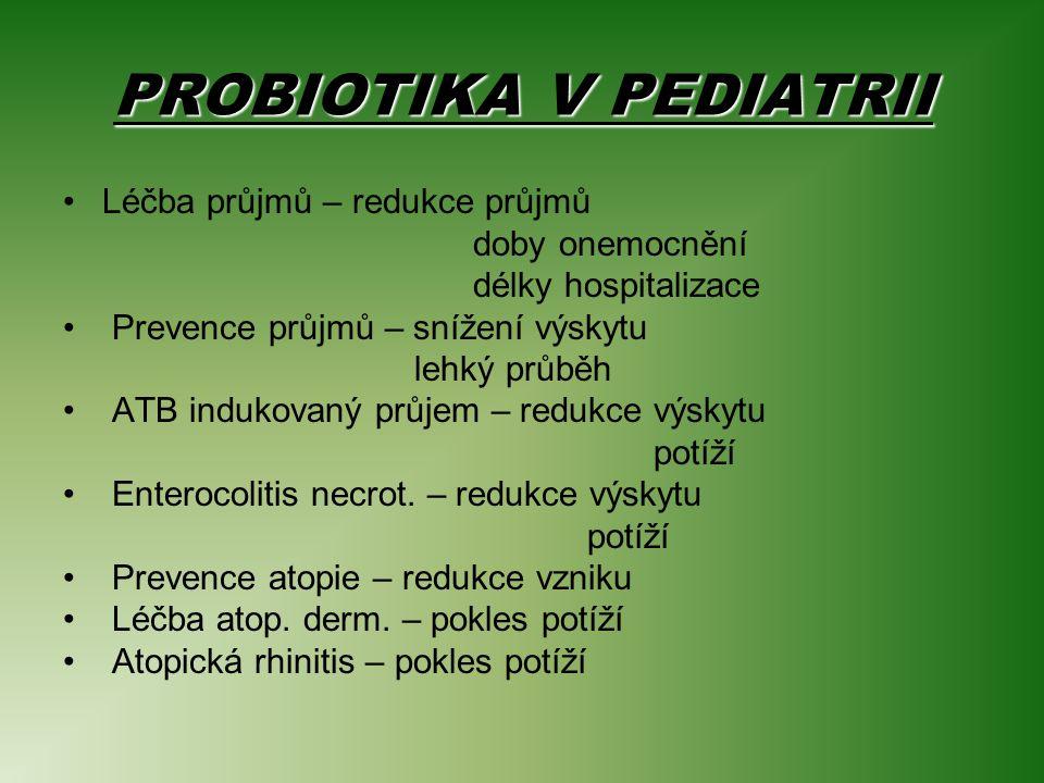 PROBIOTIKA V PEDIATRII Léčba průjmů – redukce průjmů doby onemocnění délky hospitalizace Prevence průjmů – snížení výskytu lehký průběh ATB indukovaný průjem – redukce výskytu potíží Enterocolitis necrot.
