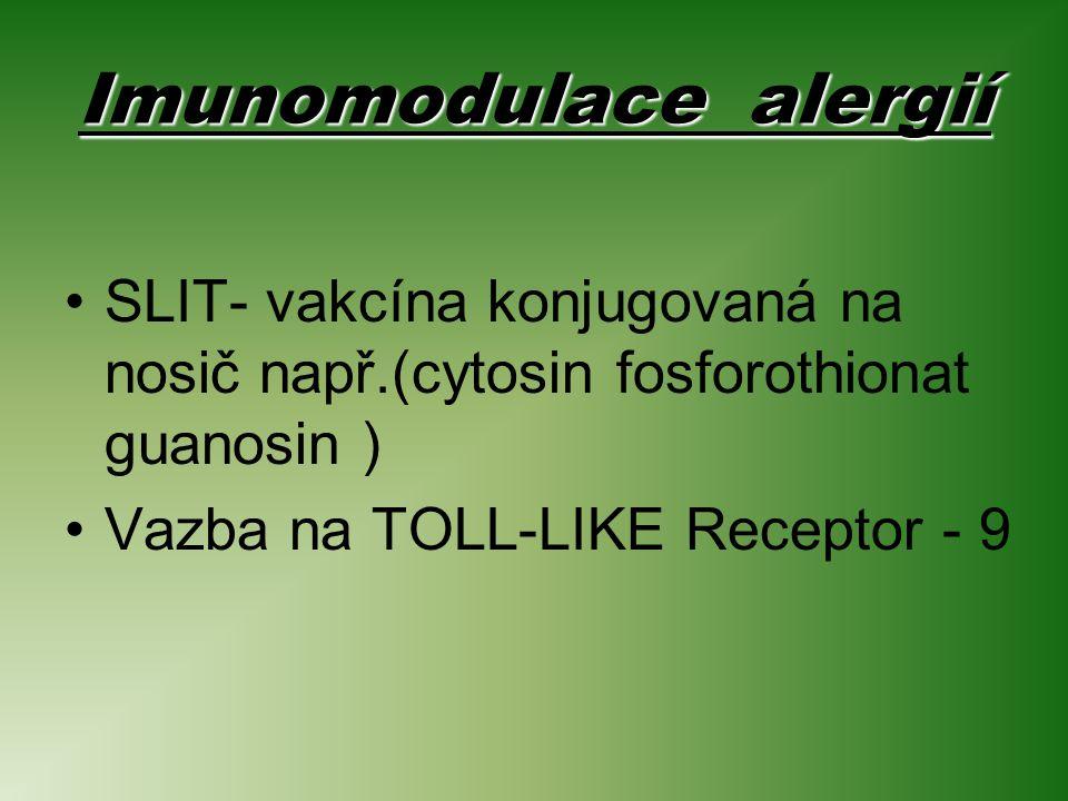 Imunomodulace alergií SLIT- vakcína konjugovaná na nosič např.(cytosin fosforothionat guanosin ) Vazba na TOLL-LIKE Receptor - 9