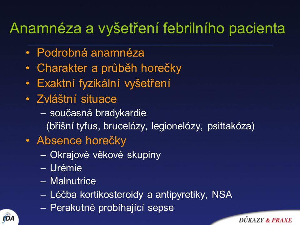 Anamnéza a vyšetření febrilního pacienta Podrobná anamnéza Charakter a průběh horečky Exaktní fyzikální vyšetření Zvláštní situace –současná bradykardie (břišní tyfus, brucelózy, legionelózy, psittakóza) Absence horečky –Okrajové věkové skupiny –Urémie –Malnutrice –Léčba kortikosteroidy a antipyretiky, NSA –Perakutně probíhající sepse