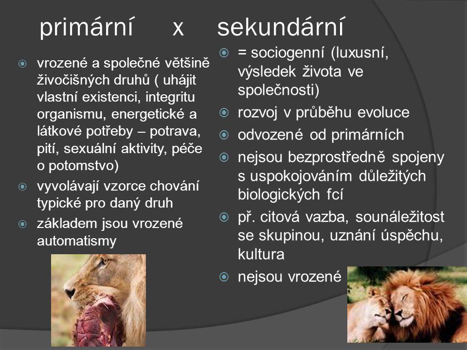 primární x sekundární  vrozené a společné většině živočišných druhů ( uhájit vlastní existenci, integritu organismu, energetické a látkové potřeby – potrava, pití, sexuální aktivity, péče o potomstvo)  vyvolávají vzorce chování typické pro daný druh  základem jsou vrozené automatismy  = sociogenní (luxusní, výsledek života ve společnosti)  rozvoj v průběhu evoluce  odvozené od primárních  nejsou bezprostředně spojeny s uspokojováním důležitých biologických fcí  př.