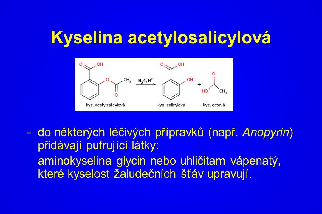 Kyselina acetylosalicylová -do některých léčivých přípravků (např. Anopyrin) přidávají pufrující látky: aminokyselina glycin nebo uhličitam vápenatý,