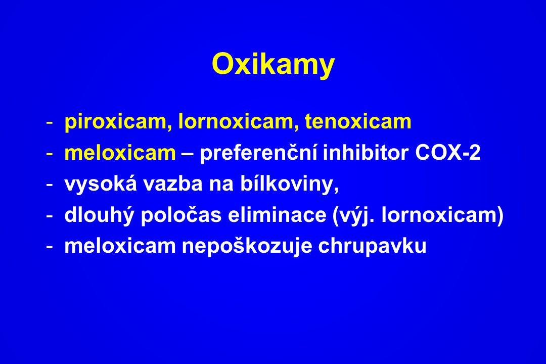 Oxikamy -piroxicam, lornoxicam, tenoxicam -meloxicam – preferenční inhibitor COX-2 -vysoká vazba na bílkoviny, -dlouhý poločas eliminace (výj. lornoxi