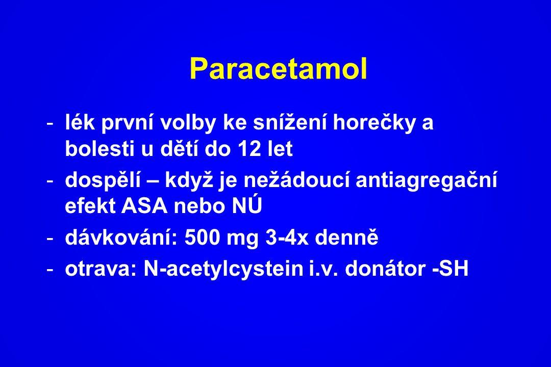 -lék první volby ke snížení horečky a bolesti u dětí do 12 let -dospělí – když je nežádoucí antiagregační efekt ASA nebo NÚ -dávkování: 500 mg 3-4x de