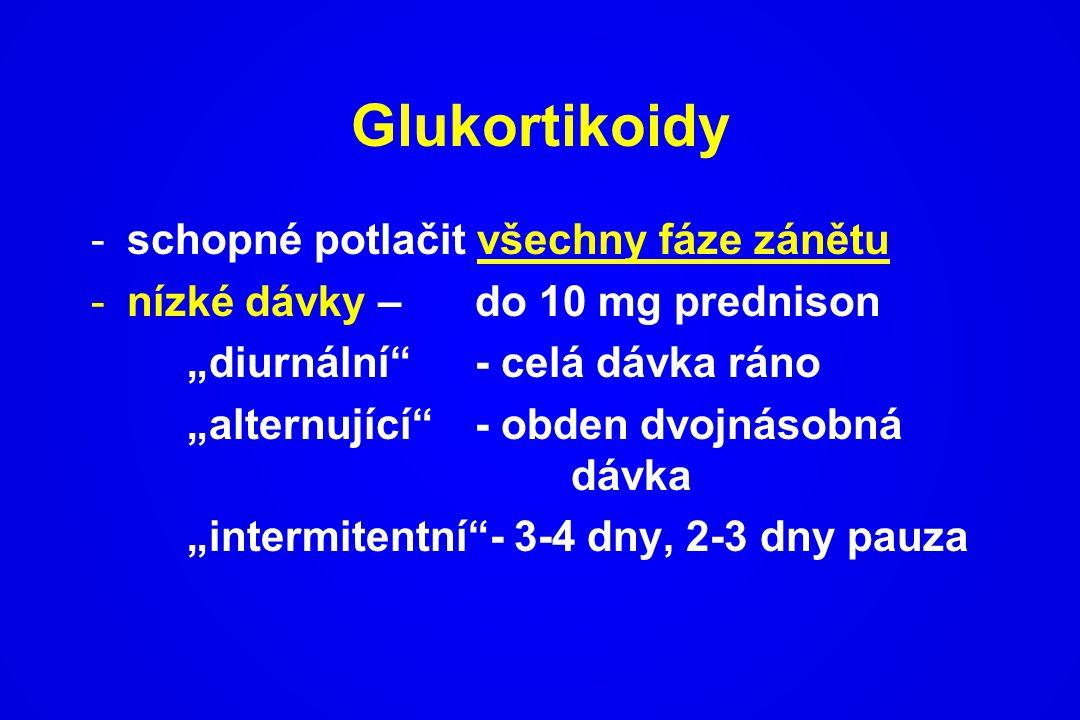 """Glukortikoidy -schopné potlačit všechny fáze zánětu -nízké dávky – do 10 mg prednison """"diurnální""""- celá dávka ráno """"alternující"""" - obden dvojnásobná d"""