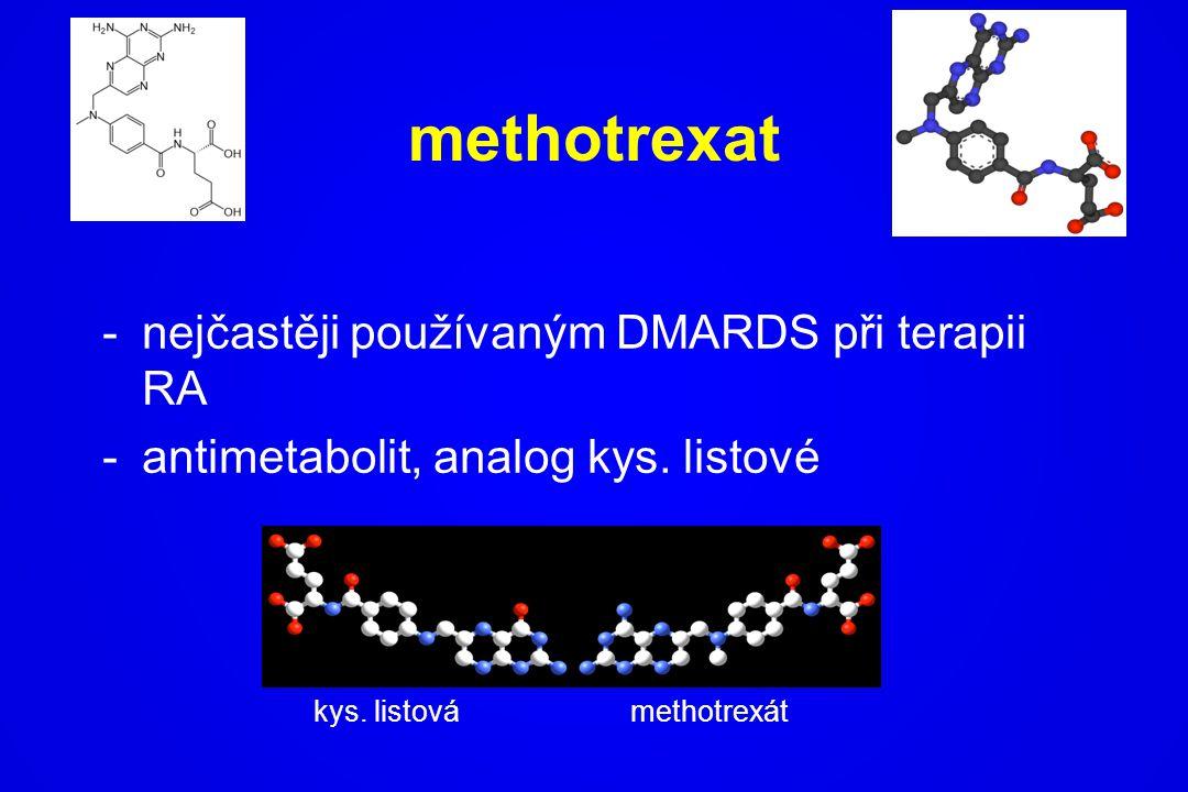 methotrexat -nejčastěji používaným DMARDS při terapii RA -antimetabolit, analog kys. listové kys. listovámethotrexát