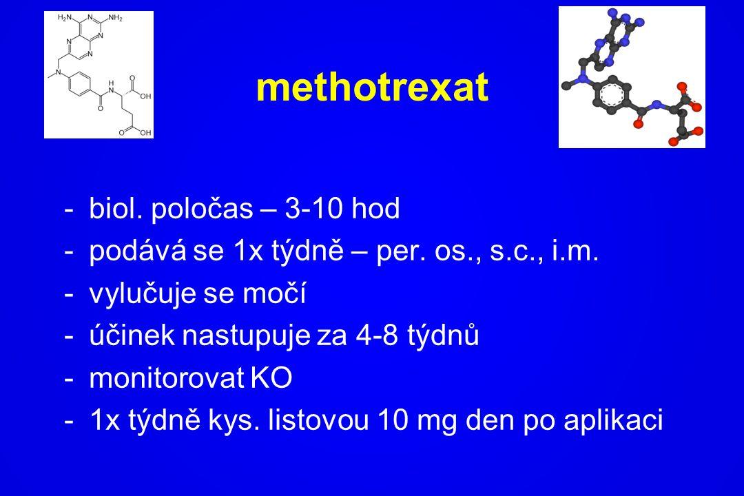methotrexat -biol. poločas – 3-10 hod -podává se 1x týdně – per. os., s.c., i.m. -vylučuje se močí -účinek nastupuje za 4-8 týdnů -monitorovat KO -1x