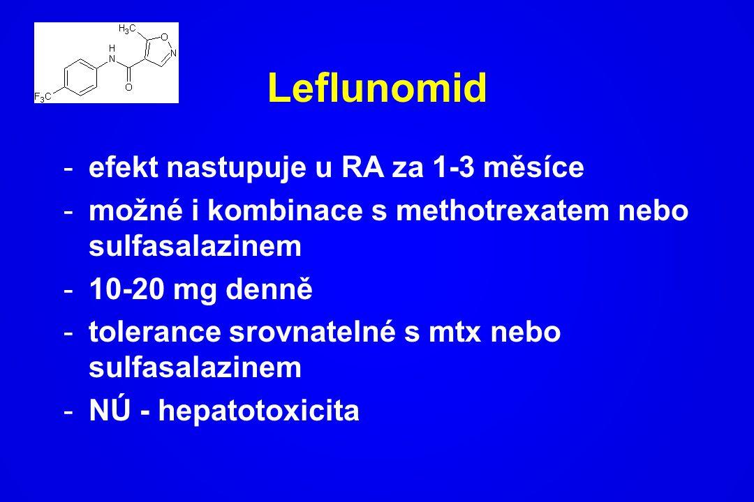 Leflunomid -efekt nastupuje u RA za 1-3 měsíce -možné i kombinace s methotrexatem nebo sulfasalazinem -10-20 mg denně -tolerance srovnatelné s mtx neb