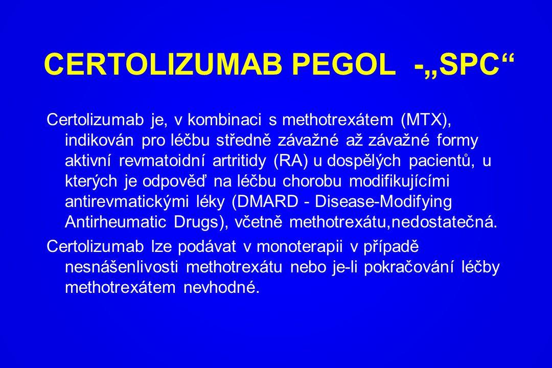 Certolizumab je, v kombinaci s methotrexátem (MTX), indikován pro léčbu středně závažné až závažné formy aktivní revmatoidní artritidy (RA) u dospělýc