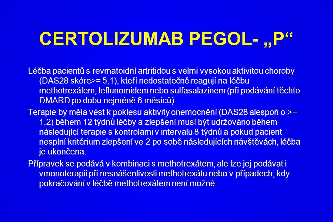 """CERTOLIZUMAB PEGOL- """"P"""" Léčba pacientů s revmatoidní artritidou s velmi vysokou aktivitou choroby (DAS28 skóre>= 5,1), kteří nedostatečně reagují na l"""