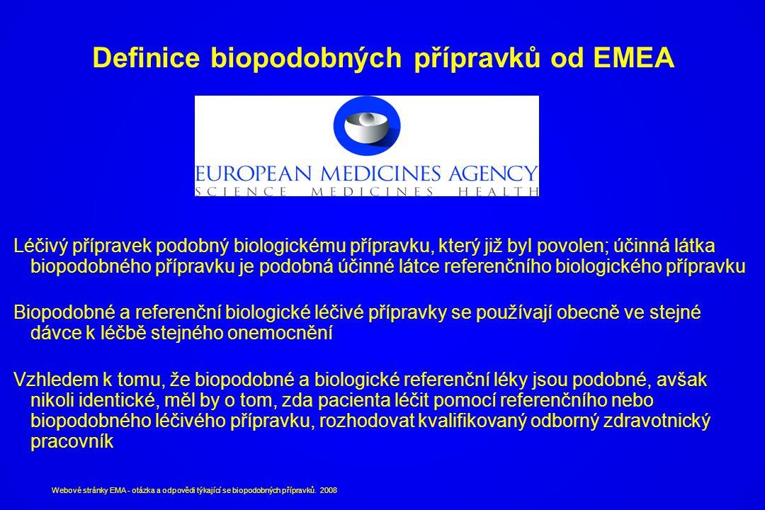 Definice biopodobných přípravků od EMEA Léčivý přípravek podobný biologickému přípravku, který již byl povolen; účinná látka biopodobného přípravku je