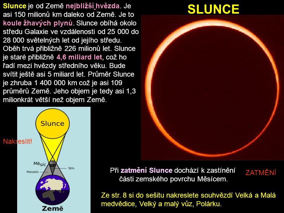 SLUNCE ZATMĚNÍ Při zatmění Slunce dochází k zastínění části zemského povrchu Měsícem. Slunce je od Země nejbližší hvězda. Je asi 150 milionů km daleko
