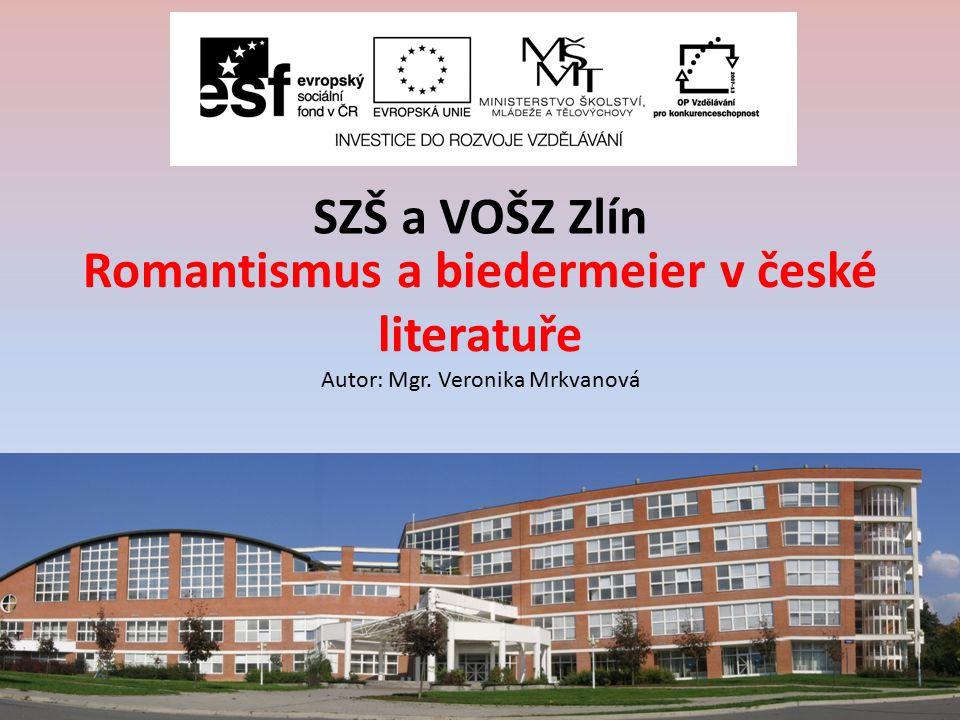 Romantismus a biedermeier v české literatuře Autor: Mgr.
