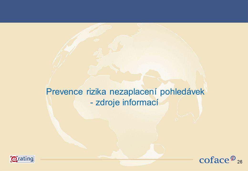 26 Prevence rizika nezaplacení pohledávek - zdroje informací