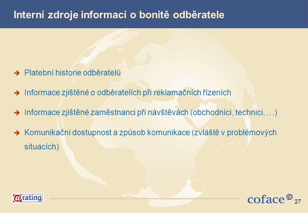 27 Interní zdroje informací o bonitě odběratele  Platební historie odběratelů  Informace zjištěné o odběratelích při reklamačních řízeních  Informa