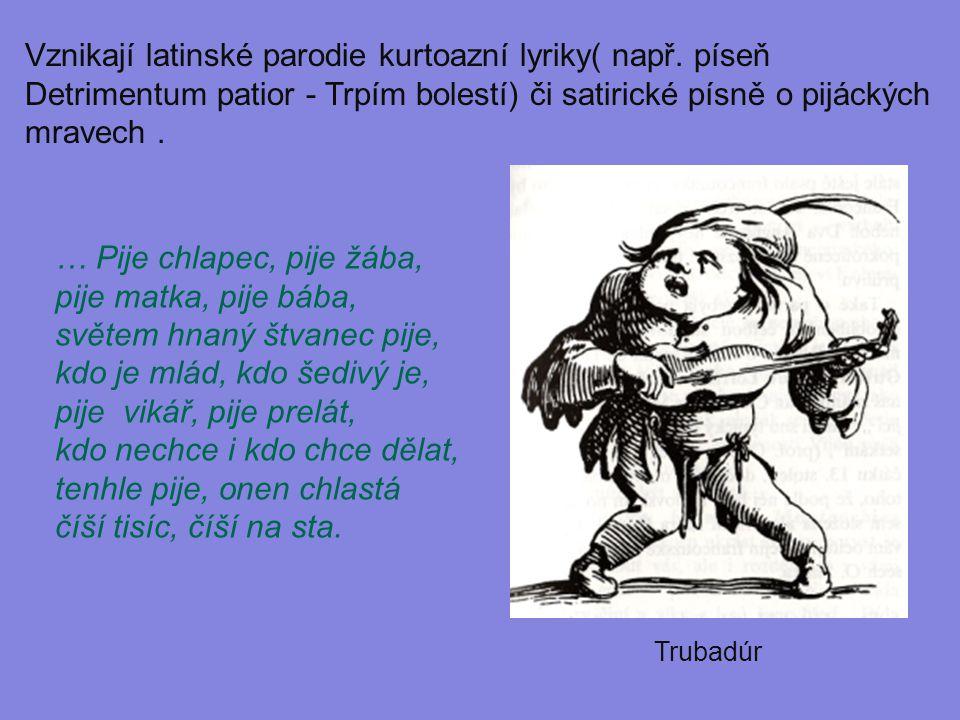 Vznikají latinské parodie kurtoazní lyriky( např. píseň Detrimentum patior - Trpím bolestí) či satirické písně o pijáckých mravech. … Pije chlapec, pi