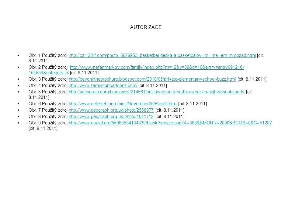 AUTORIZACE Obr. 1 Použitý zdroj http://cz.123rf.com/photo_6678953_basketbal-deska-a-basketbalov--m---na--ern-m-pozad.html [cit. 8.11.2011]http://cz.12