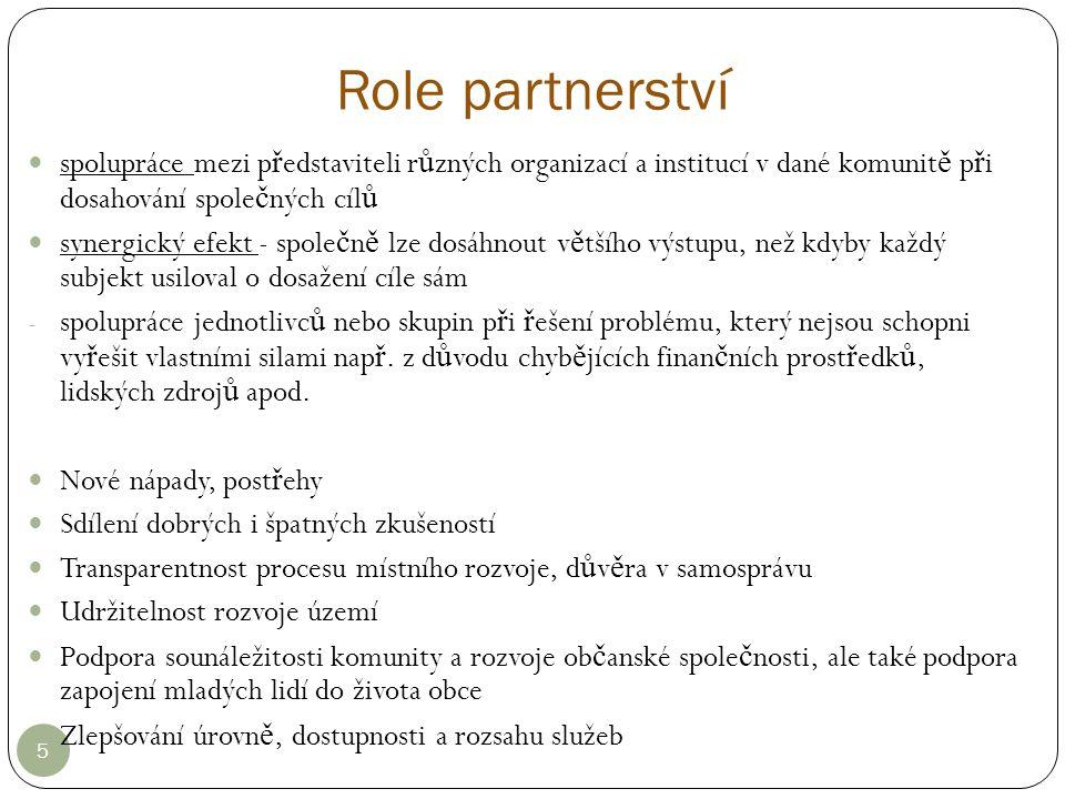 Role partnerství 5 spolupráce mezi p ř edstaviteli r ů zných organizací a institucí v dané komunit ě p ř i dosahování spole č ných cíl ů synergický ef