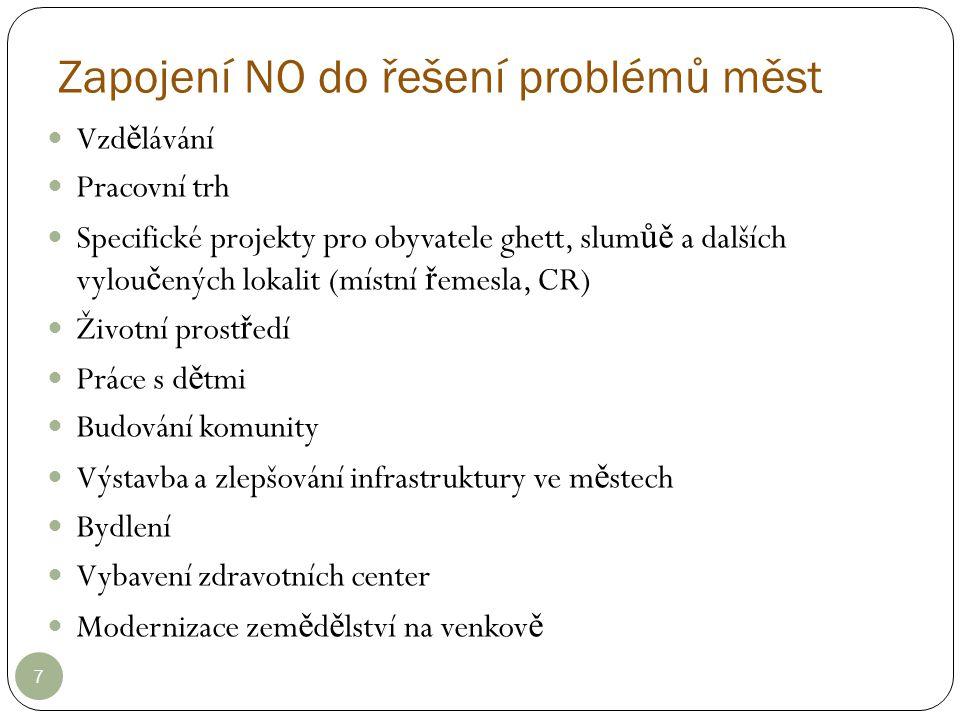 Zapojení NO do řešení problémů měst 7 Vzd ě lávání Pracovní trh Specifické projekty pro obyvatele ghett, slum ůě a dalších vylou č ených lokalit (míst
