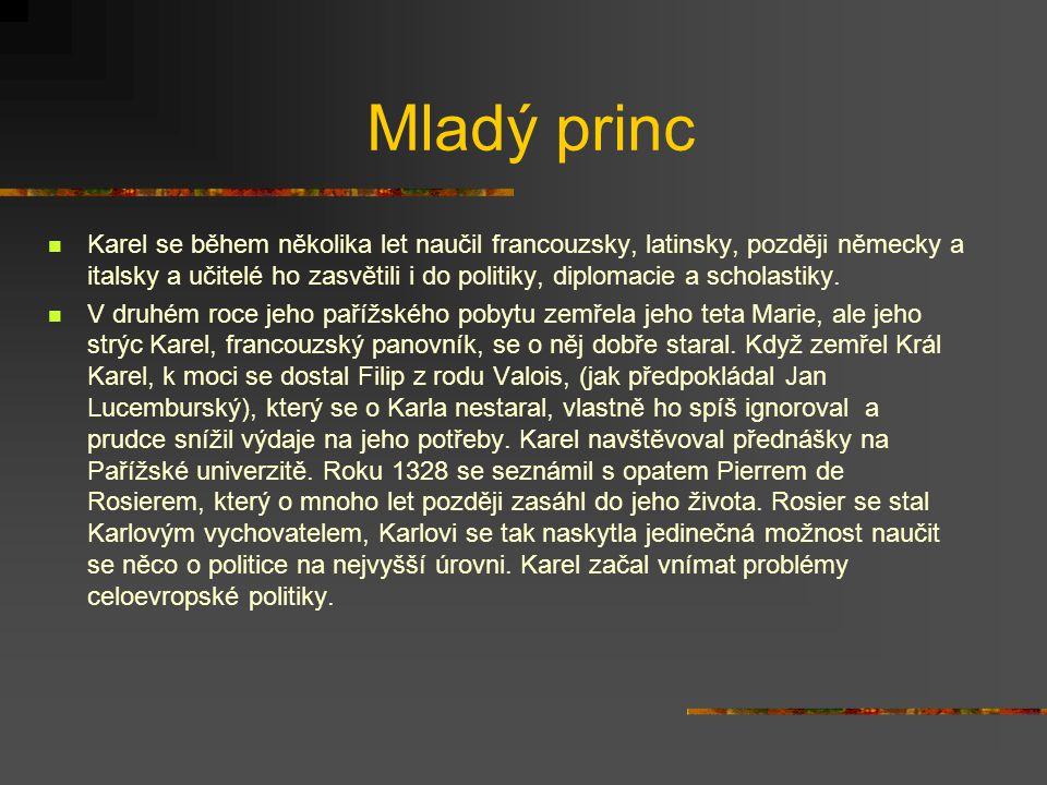 Konec dětství Dětství českého prince skončilo roku 1329.