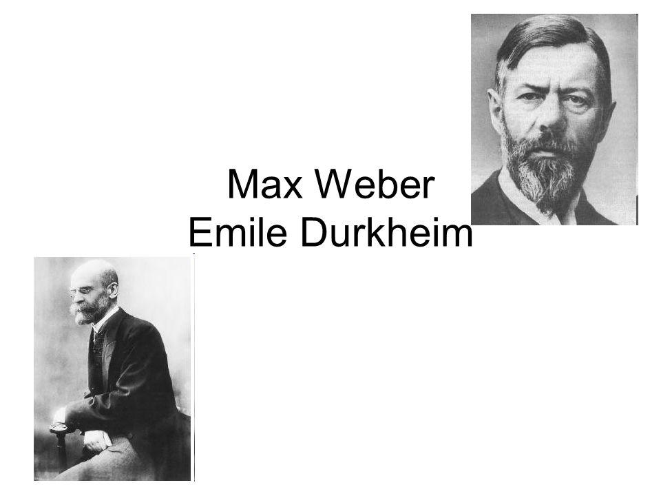 Max Weber (1864 -1920) Vystudoval právo jako hlavní obor, studoval ale také ekonomii, historii, filozofii a teologii – tyto své oblasti zájmu o počátku propojoval, například jeho dizertace se týkala vývoje obchodního práva v italských středověkých městech Na počátku své akademické dráhy se věnoval především právu (jeho dějinám i současnosti) a ekonomii, postupně se v jeho pracích projevoval stále větší zájem o sociální a sociologický aspekt věci ( role náboženství, politická moc, byrokratizace společnosti a racionalizaci jednání) V roce 1909 založil s Tönniesem a Simmelem Německou sociologickou společnost, v této době už se sám o sobě někdy mluví jako o sociologovi Během svého života se Weber několikrát psychicky i fyzicky zhroutil (pravděpodobně především kvůli konfliktům s otcem), což narušovalo jeho univerzitní kariéru.