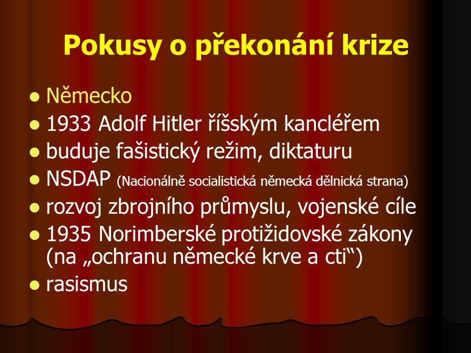 Pokusy o překonání krize SSSR 1928 první pětiletka, industrializace průmyslu stagnace a úpadek ostatních oblastí hospodářství kolektivizace – násilné združstevňování, rozvrat zemědělské výroby 1929 – 1935 přídělový systém