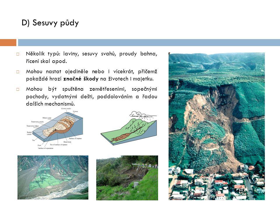 D) Sesuvy půdy  Několik typů: laviny, sesuvy svahů, proudy bahna, řícení skal apod.