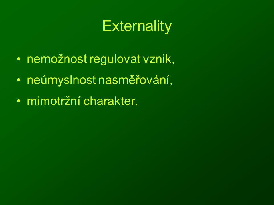 Externality nemožnost regulovat vznik, neúmyslnost nasměřování, mimotržní charakter.