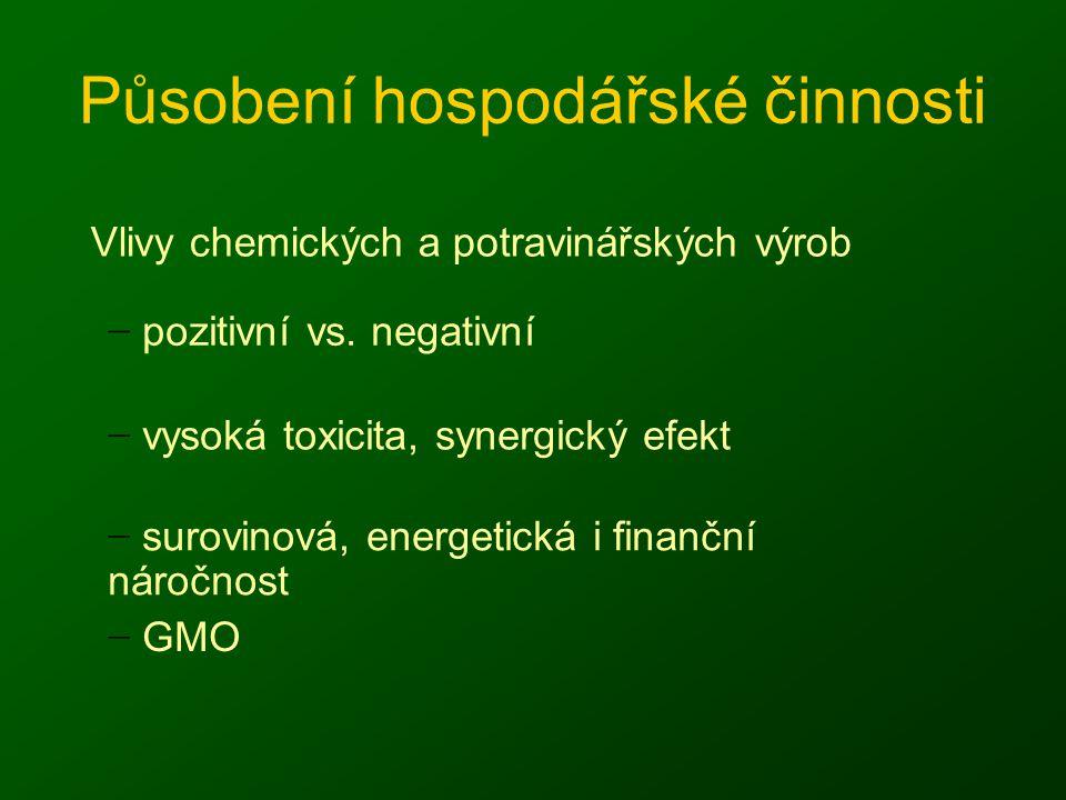 Působení hospodářské činnosti Vlivy chemických a potravinářských výrob − pozitivní vs. negativní − vysoká toxicita, synergický efekt − surovinová, ene