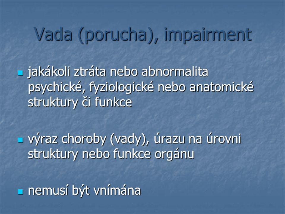 Vada (porucha), impairment jakákoli ztráta nebo abnormalita psychické, fyziologické nebo anatomické struktury či funkce jakákoli ztráta nebo abnormali