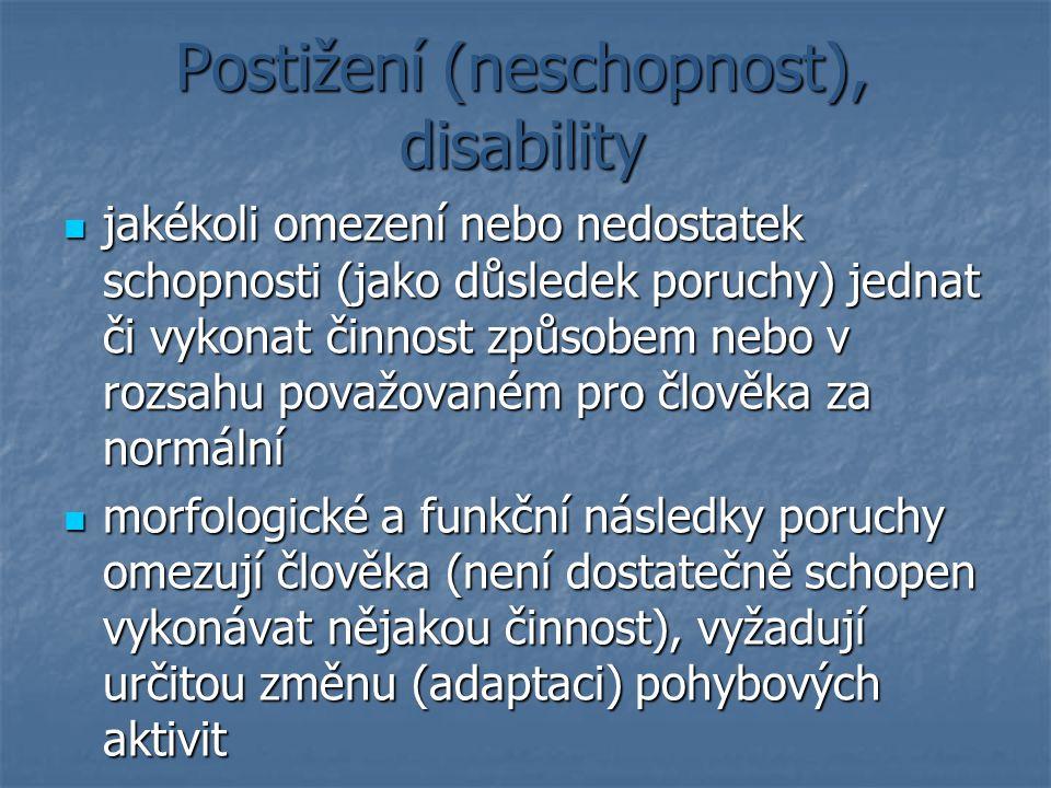 Postižení (neschopnost), disability jakékoli omezení nebo nedostatek schopnosti (jako důsledek poruchy) jednat či vykonat činnost způsobem nebo v rozs