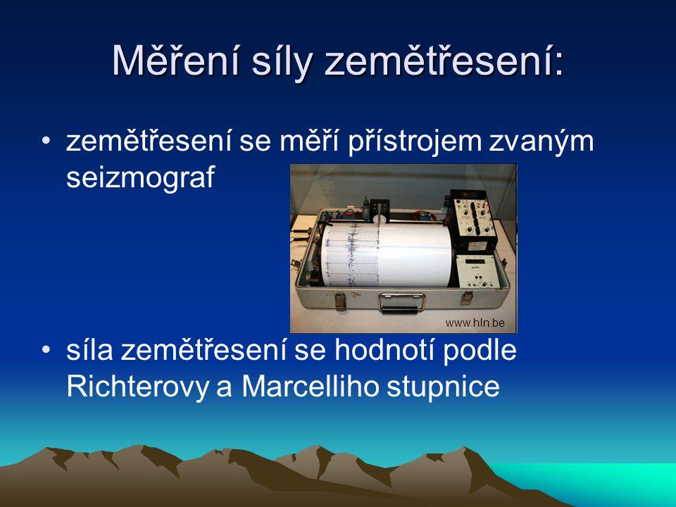Měření síly zemětřesení: zemětřesení se měří přístrojem zvaným seizmograf síla zemětřesení se hodnotí podle Richterovy a Marcelliho stupnice www.hln.b