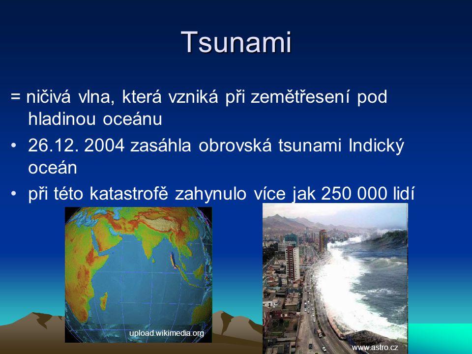 Tsunami = ničivá vlna, která vzniká při zemětřesení pod hladinou oceánu 26.12. 2004 zasáhla obrovská tsunami Indický oceán při této katastrofě zahynul