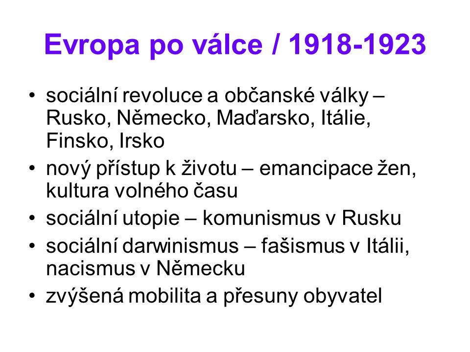 Evropa po válce / 1918-1923 sociální revoluce a občanské války – Rusko, Německo, Maďarsko, Itálie, Finsko, Irsko nový přístup k životu – emancipace že