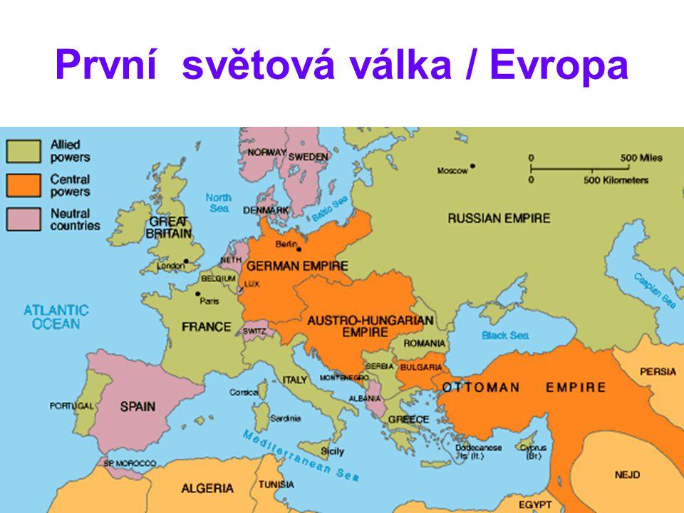 První světová válka / Evropa náboženství odsunuto do soukromé sféry, velký důraz na vědu