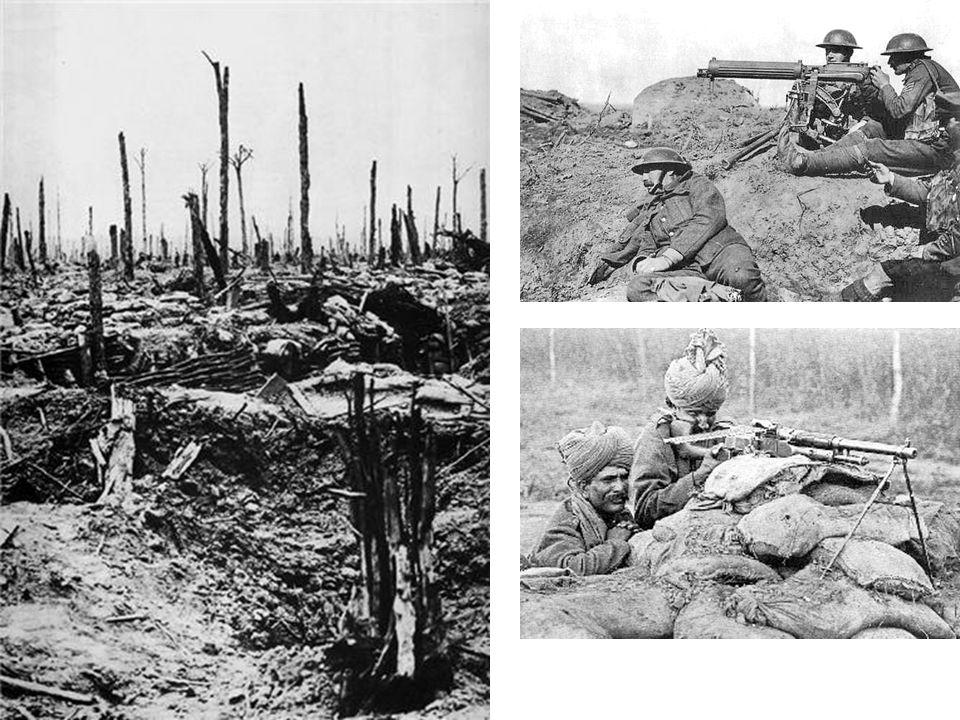 První světová válka Nové mechanické zbraně / pevnina: kulomet – od Gatlingova vynálezu / 1861 k vodou chlazenému kulometu (Maxim, Vickers), obsluha dvou mužů používán i jako protiletadlový tank – k překonání zákopů a ostnatého drátu / Angličané 1916