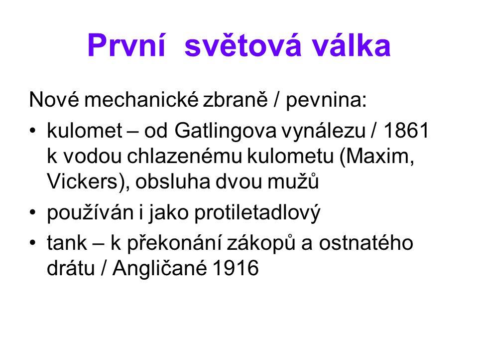 První světová válka Nové mechanické zbraně / pevnina: kulomet – od Gatlingova vynálezu / 1861 k vodou chlazenému kulometu (Maxim, Vickers), obsluha dv
