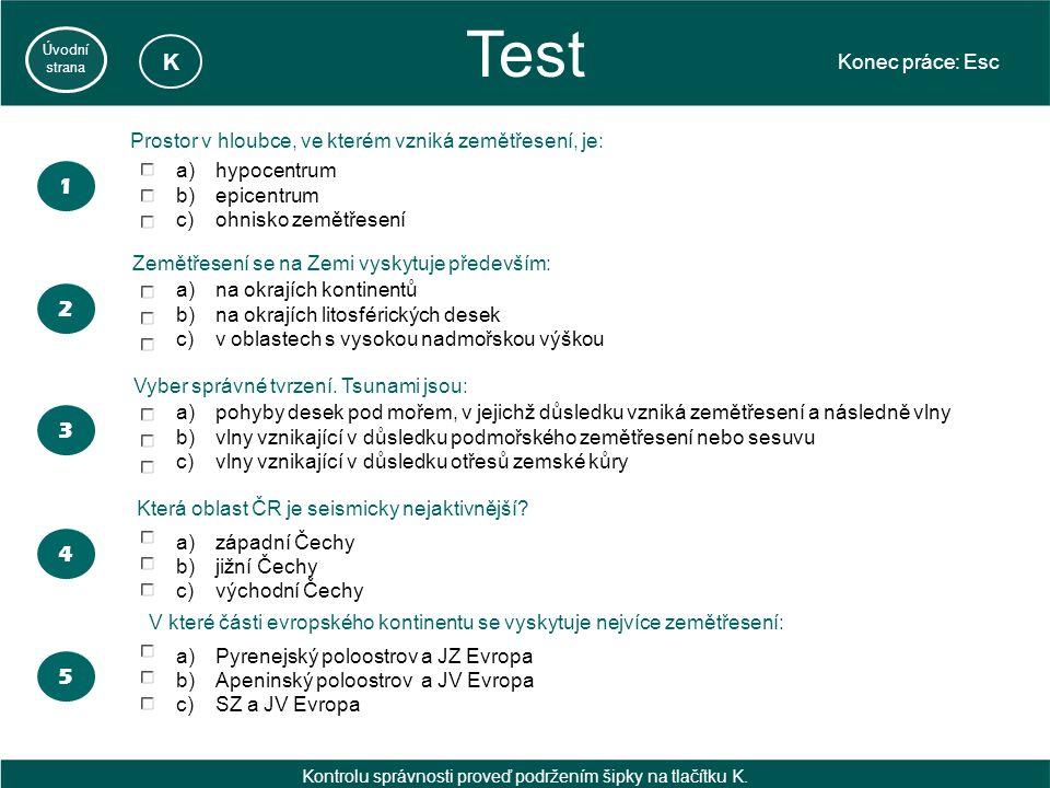 Test Konec práce: Esc Úvodní strana 2 a)hypocentrum b)epicentrum c)ohnisko zemětřesení a)na okrajích kontinentů b)na okrajích litosférických desek c)v