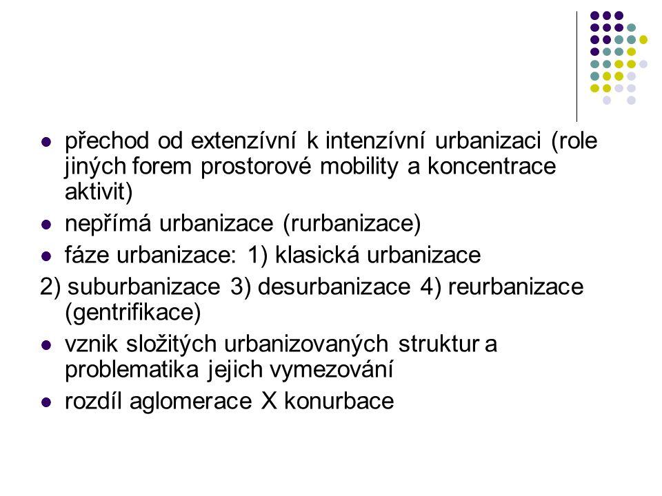 přechod od extenzívní k intenzívní urbanizaci (role jiných forem prostorové mobility a koncentrace aktivit) nepřímá urbanizace (rurbanizace) fáze urba