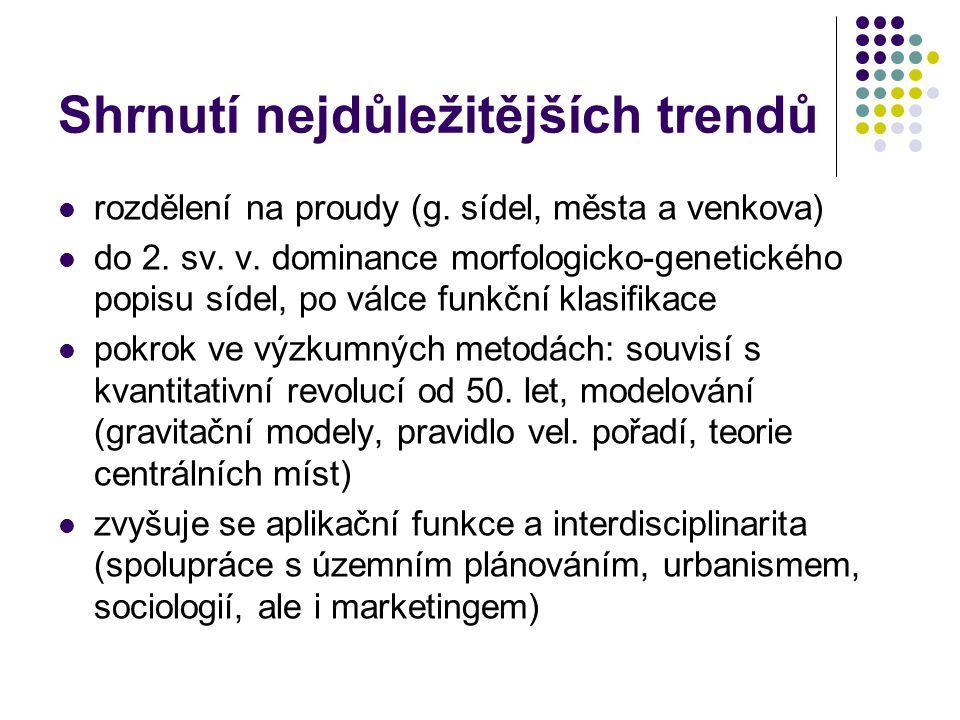 Shrnutí nejdůležitějších trendů rozdělení na proudy (g. sídel, města a venkova) do 2. sv. v. dominance morfologicko-genetického popisu sídel, po válce