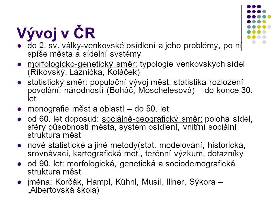 Vývoj v ČR do 2. sv. války-venkovské osídlení a jeho problémy, po ní spíše města a sídelní systémy morfologicko-genetický směr: typologie venkovských