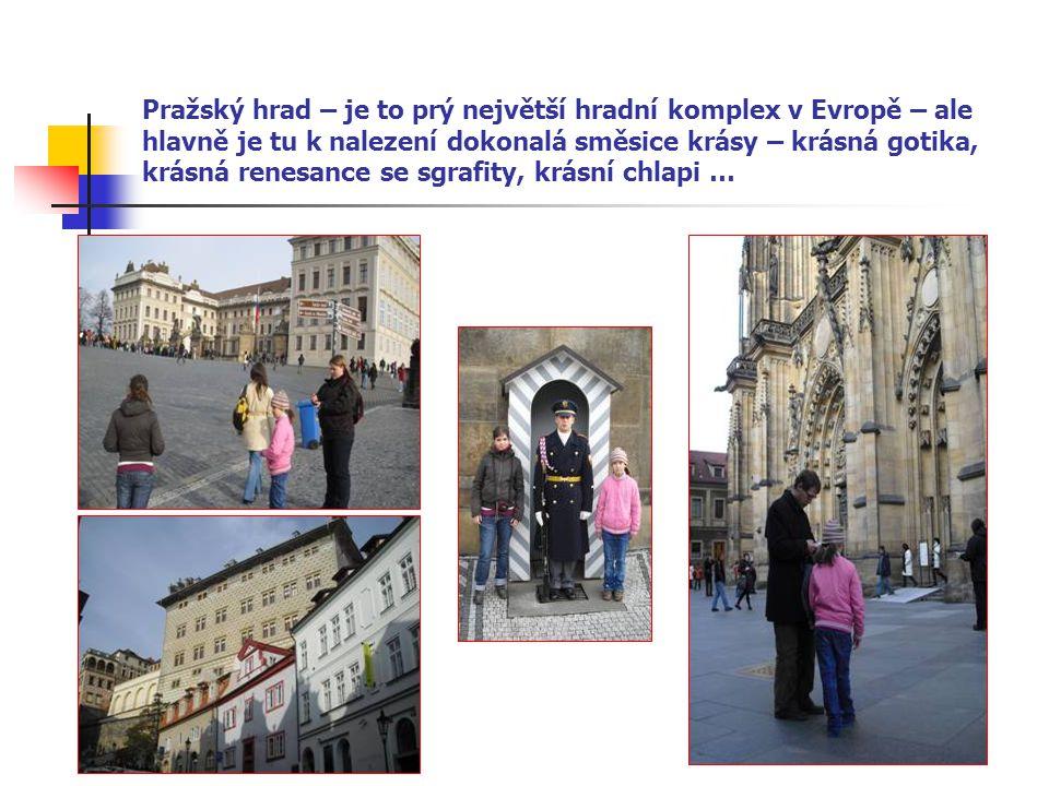 Pražský hrad – je to prý největší hradní komplex v Evropě – ale hlavně je tu k nalezení dokonalá směsice krásy – krásná gotika, krásná renesance se sgrafity, krásní chlapi …