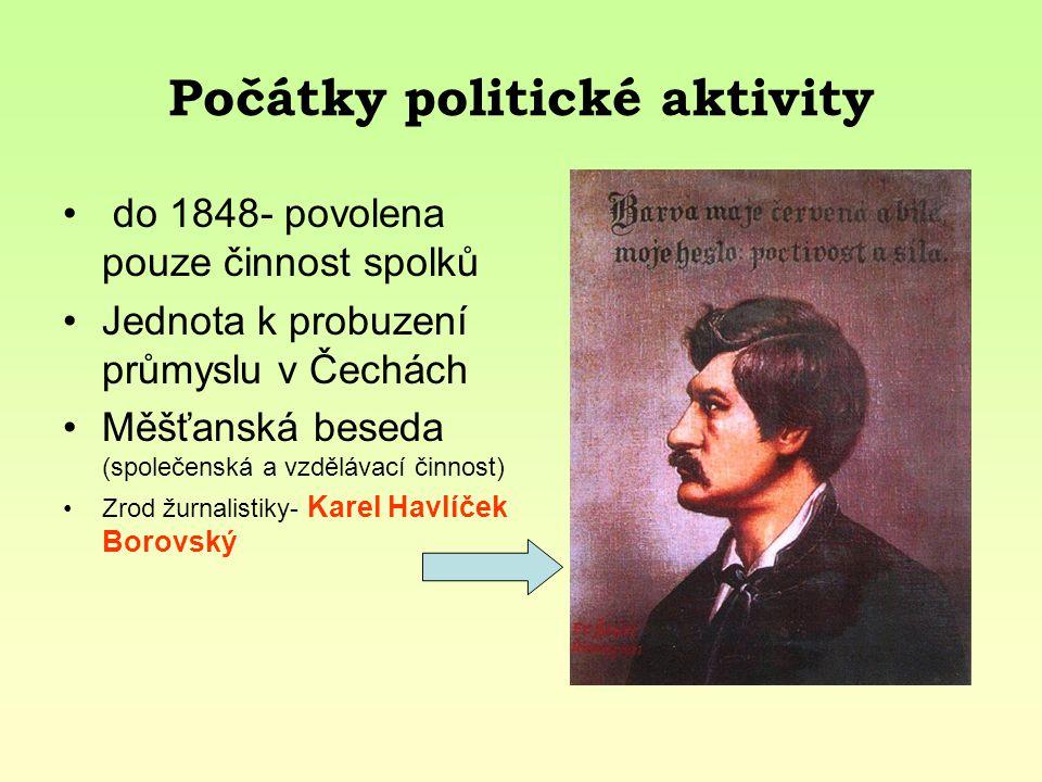 Počátky politické aktivity do 1848- povolena pouze činnost spolků Jednota k probuzení průmyslu v Čechách Měšťanská beseda (společenská a vzdělávací či