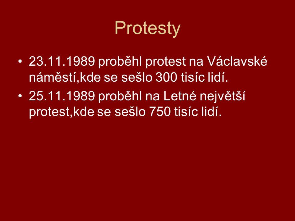 Protesty 23.11.1989 proběhl protest na Václavské náměstí,kde se sešlo 300 tisíc lidí. 25.11.1989 proběhl na Letné největší protest,kde se sešlo 750 ti