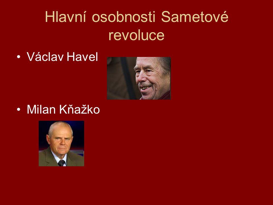 Hlavní osobnosti Sametové revoluce Václav Havel Milan Kňažko
