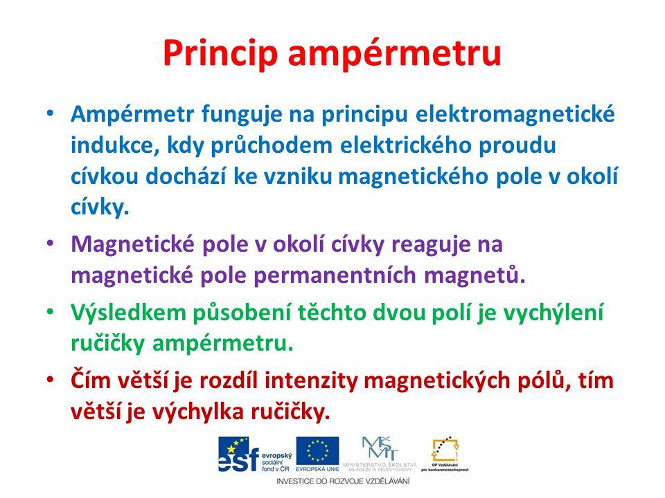 Princip ampérmetru Ampérmetr funguje na principu elektromagnetické indukce, kdy průchodem elektrického proudu cívkou dochází ke vzniku magnetického pole v okolí cívky.