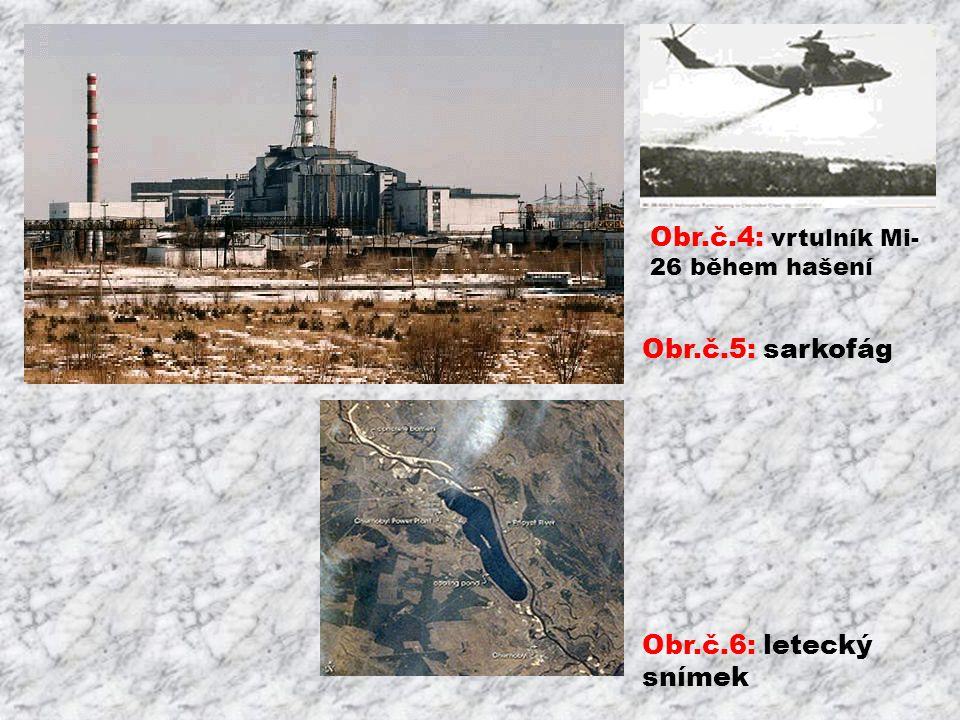 Obr.č.4: vrtulník Mi- 26 během hašení Obr.č.5: sarkofág Obr.č.6: letecký snímek