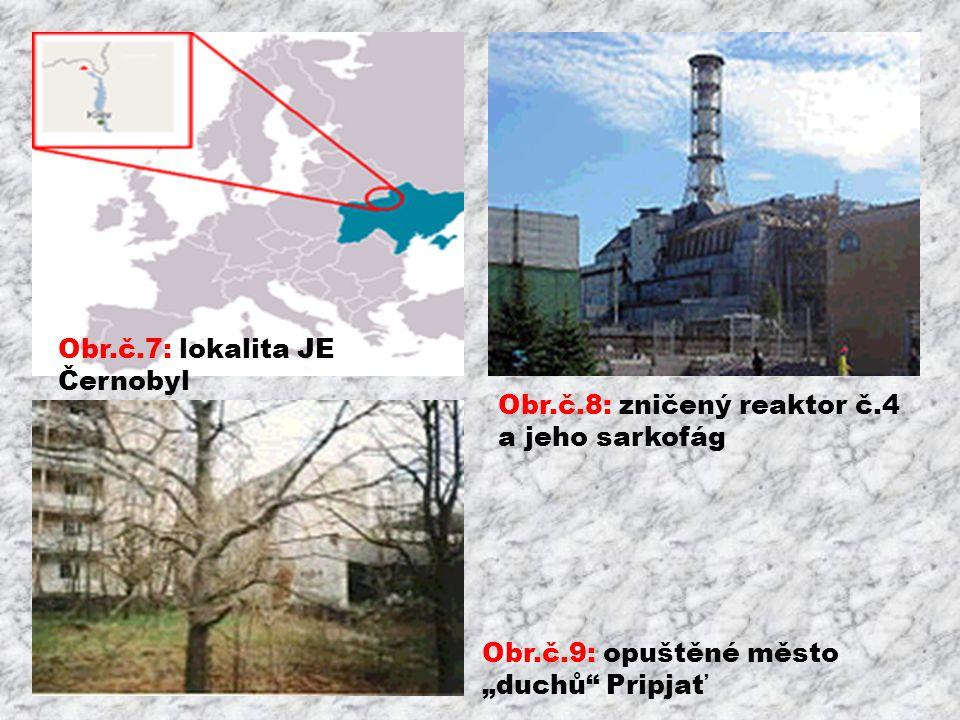 "Obr.č.7: lokalita JE Černobyl Obr.č.9: opuštěné město ""duchů Pripjať Obr.č.8: zničený reaktor č.4 a jeho sarkofág"