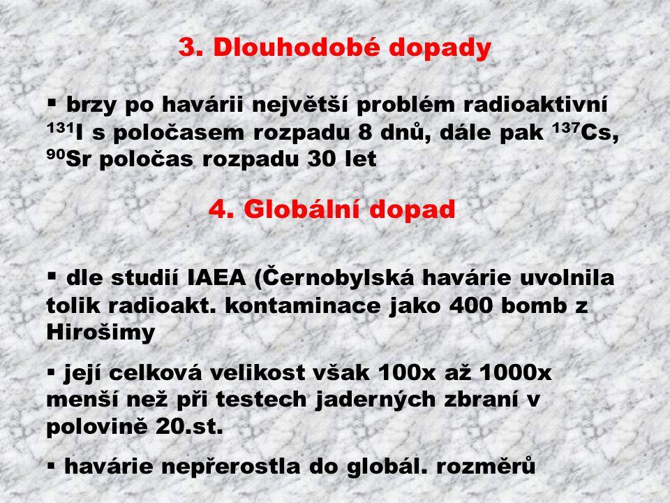 3. Dlouhodobé dopady  brzy po havárii největší problém radioaktivní 131 I s poločasem rozpadu 8 dnů, dále pak 137 Cs, 90 Sr poločas rozpadu 30 let 4.