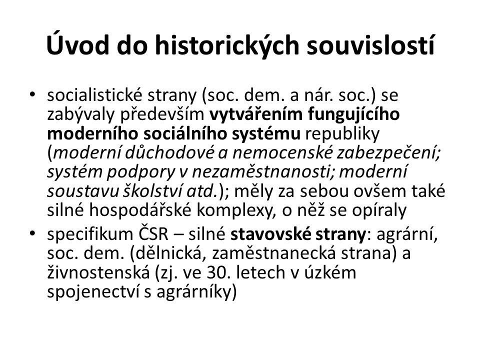 Úvod do historických souvislostí socialistické strany (soc. dem. a nár. soc.) se zabývaly především vytvářením fungujícího moderního sociálního systém